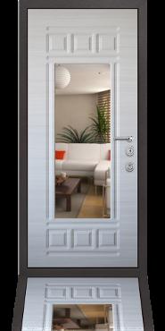 Стальная дверь с зеркалом и МДФ отделкой
