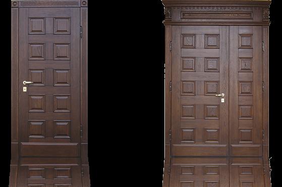 Стальная дверь с отделкой массивом дуба