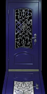 Стальная дверь с отделкой DiccoFlex и стеклопакетом с кованой решеткой