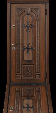 Стальная дверь с отделкой Vinorit и стеклопакетом с кованой решеткой