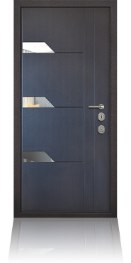 Стальная дверь с отделкой МДФ и молдингами из нержавеющей стали