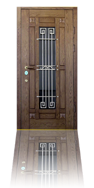 Стальная дверь с отделкой массивом дуба и стеклопакетом с кованой решеткой